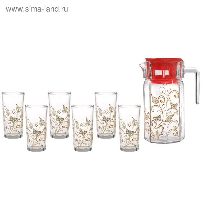 """Набор питьевой """"Перо Жар-птицы"""": кувшин 1,25 л, 6 стаканов 230 мл, подарочная упаковка"""