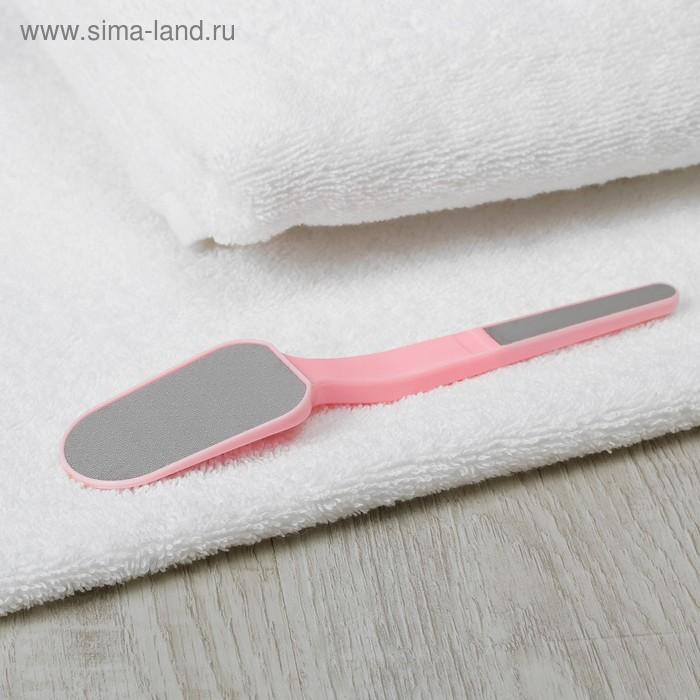 Тёрка для ног лазерная двухсторонняя с пилкой на ручке, 4см, цвет МИКС