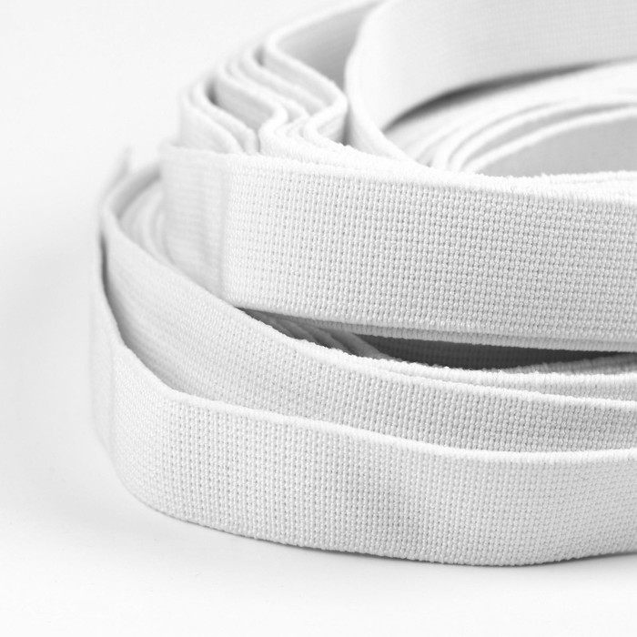 Лента эластичная, 20 мм, 25 ± 1 м, цвет белый - фото 687519