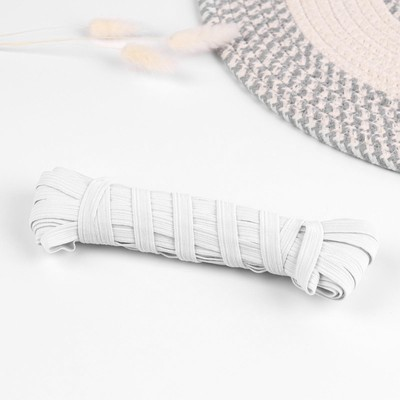 Резинка эластичная, 10 мм, 10±1 м, цвет белый