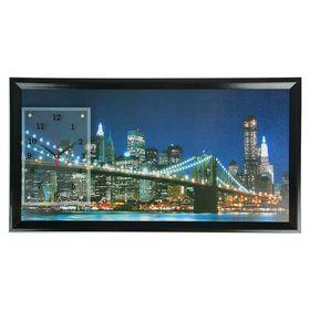 """Часы-картина настенные, серия: Город, """"Бруклинский Мост ночью"""", 50х100  см, микс"""