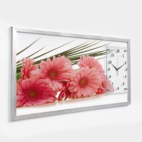 """Часы-картина настенные, серия: Цветы, """"Герберы"""", 50х100  см, микс"""