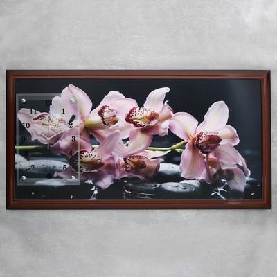 """Часы-картина настенные, серия: Цветы, """"Фиолетовые орхидеи"""", 50х100  см, микс"""