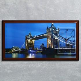 """Часы-картина настенные, серия: Город, """"Тауэрский мост"""", 50х100  см, микс"""