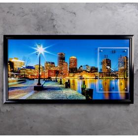 """Часы-картина настенные, серия: Город, """"Ночной город и архитектура"""", 50х100  см, микс"""