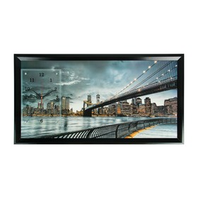"""Часы-картина настенные, серия: Город, """"Бруклинский мост"""", 50х100 см, миск"""