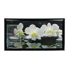 """Часы-картина настенные прямоугольные """"Белые орхидеи"""", 50х100 см микс"""