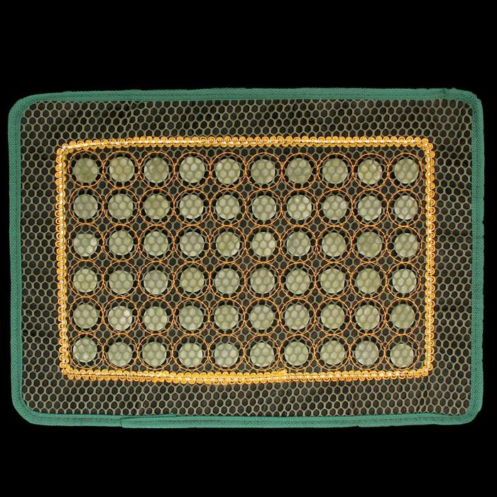 Коврик массажный с нефритовыми камнями прямоугольный с сеткой - фото 7356101