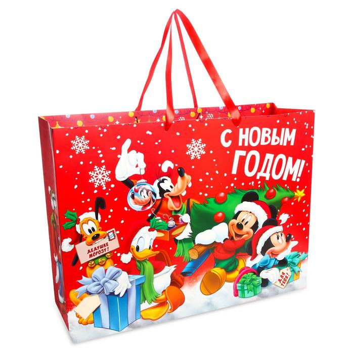Пакет подарочный ламинированный XL «С Новым Годом!», Микки Маус и его друзья, 61 х 46 х 20 см