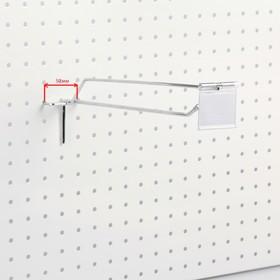 Крючок одинарный с ценникодержателем для перфорации шаг 50мм, L20, d4,8мм, хром Ош