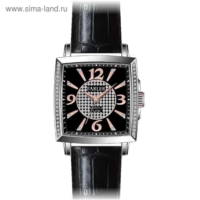 """Часы наручные женские """"Спутник"""", черный циферблат, черный ремешок"""