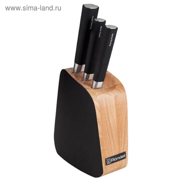 Набор ножей, 4 предмета: Santoku 14 см, универсальный 12,7 см, для овощей 9 см, подставка