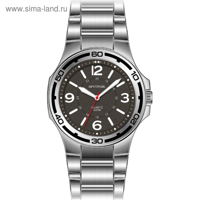 """Часы наручные мужские """"Спутник"""", светло-серый циферблат, металлический браслет"""