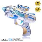 "Gun ""Blaster"" light and sound, powered by batteries"