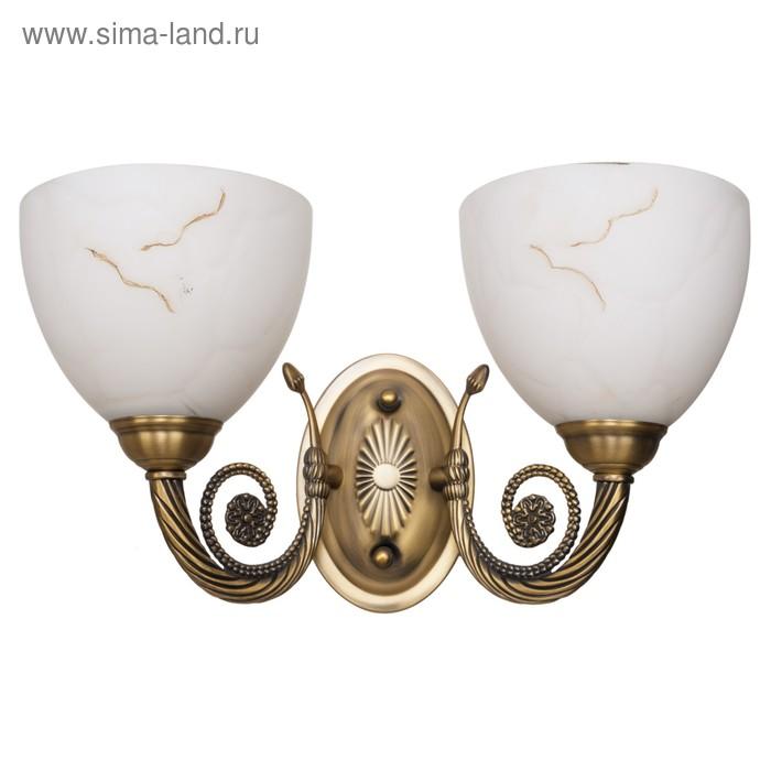 """Бра классика """"Серафима"""" 2 лампы 60W Е27 основание античная бронза 37х19х23 см"""