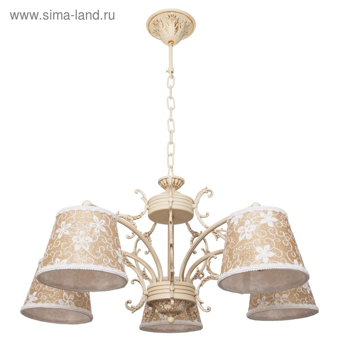"""Люстра классика """"Цветник"""" 5 ламп 40W Е14 основание бежевое 66х66х32 см"""