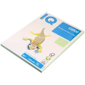 Бумага цветная А4 100 л, IQ COLOR Pale, 80 г/м2, зеленый, MG28