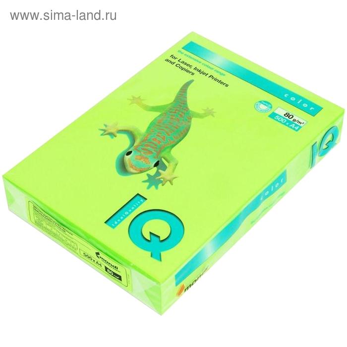 Бумага цветная IQ COLOR (А4,80г,NEOGR-зелёный неон) пачка 500л.