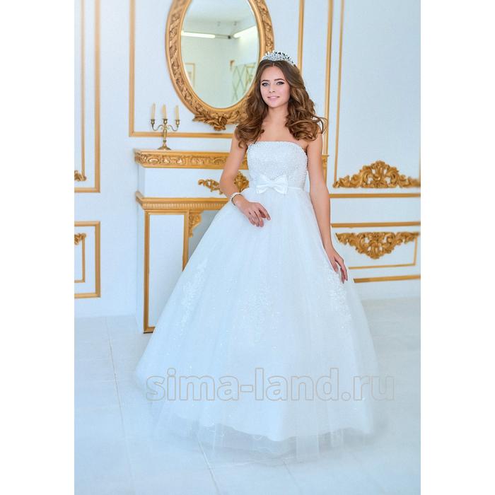 """e5246147ca6da50 Свадебное платье """"Николета"""" молочное, с бантиком под грудь ..."""