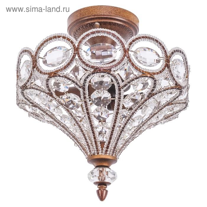 """Люстра хрусталь """"Адель"""" 2 лампы 40W Е14 основание коричневое золото 34х34х31 см"""