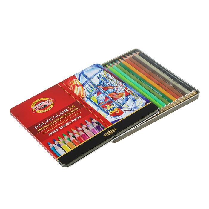 Карандаши художественные PolyColor 3824, 24 цвета, мягкие, в металлическом пенале - фото 370853146