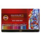Карандаши художественные мягкие K-I-N 3825 PolyColor, 36 цветов, в металлическом пенале