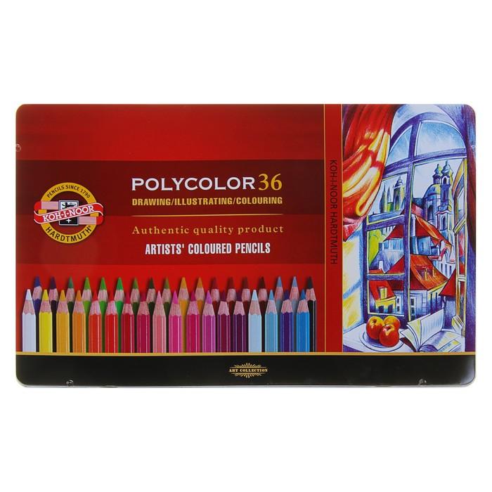 Карандаши художественные 36 цветов, Koh-I-Noor 3825 PolyColor, мягкие, в металлическом пенале - фото 1654497