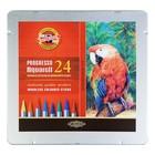 Карандаши художественные цветные акварельные 24 цвета Koh-I-Noor Progresso Aquarell 8784, цельнографитовые, в металлическом пенале