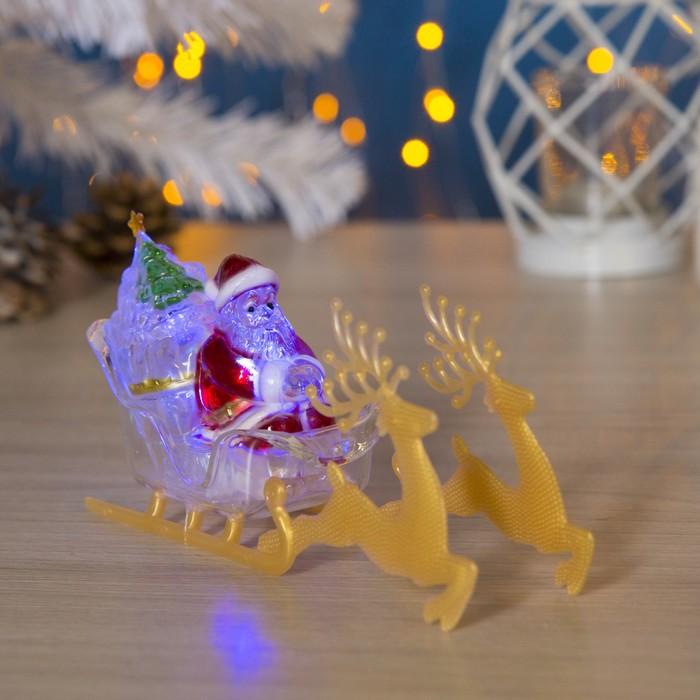 """Игрушка световая """"Дед мороз и сани"""" (батарейки в комплекте) 1 LED, RGB"""