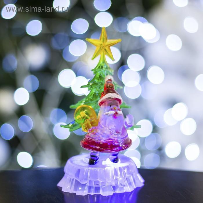 """Игрушка световая """"Дед мороз под елкой"""" (батарейки в комплекте) 1 LED, RGB"""