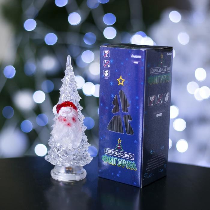 "Игрушка световая ""Ёлочка Дед мороз"" (батарейки в комплекте) 14 см, 1 LED, RGB, ПРОЗРАЧНАЯ"