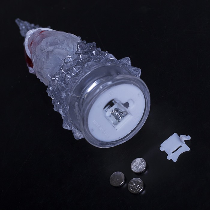 "Игрушка световая ""Ёлочка Дед мороз"" (батарейки в комплекте) 18,5 см, 1 LED, RGB, ПРОЗРАЧНАЯ"