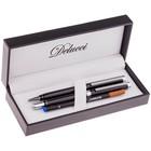 Набор Delucci шариковая ручка 1.0 мм + ручка-роллер 0.6 мм, синие чернила, в подарочной упаковке