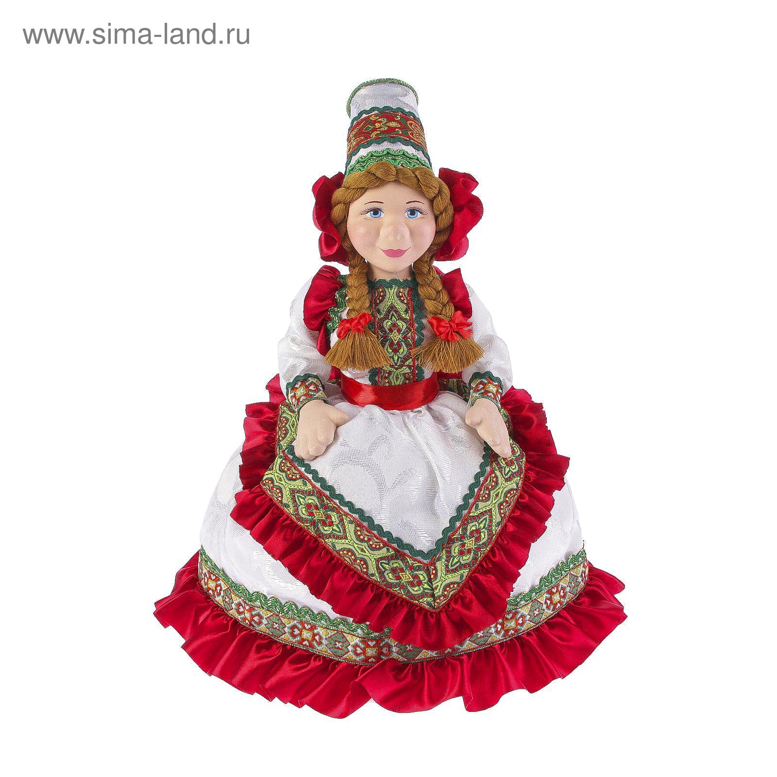 """Авторская сувенирная кукла на чайник """"Машенька в белом ..."""