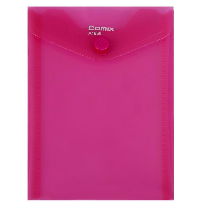 Папка-конверт на кнопке А6 Comix вертикальная, 180 мкм, МИКС
