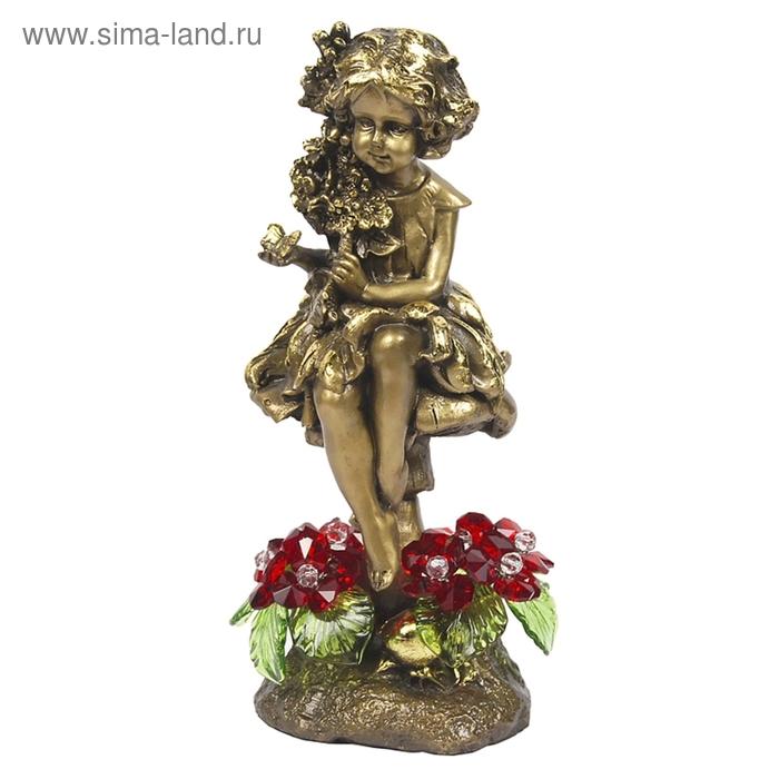 """Статуэтка """"Лесная фея с хрустальными цветами"""" RED"""