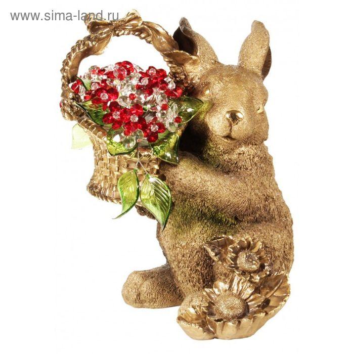 """Статуэтка """"Кролик с хрустальными цветами"""" RED"""