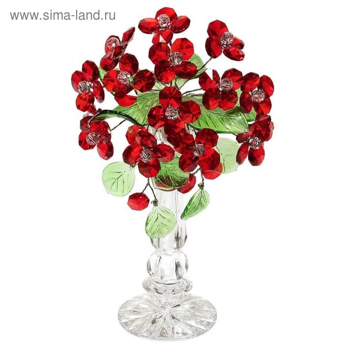 """Цветочная композиция со стразами """"Дерево"""" RED"""