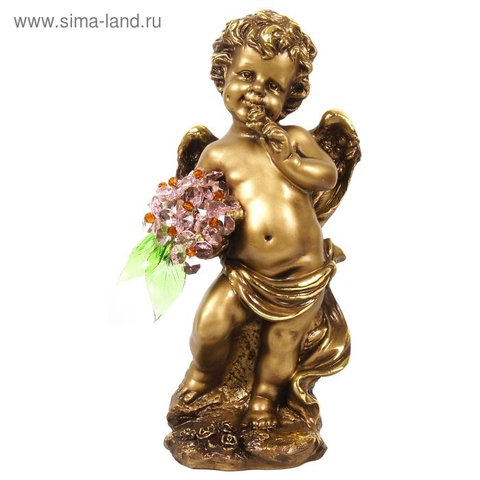 """Статуэтка """"Ангел большой с хрустальными цветами"""", ROS"""