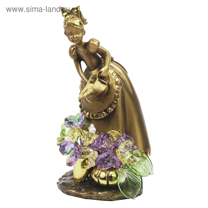 """Статуэтка """"Маленькая садовница с хрустальными цветами"""" VLM"""