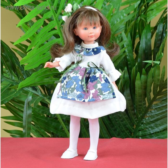 """Кукла """"Селия"""" в белом платье с цветочным фартуком и воротничком"""