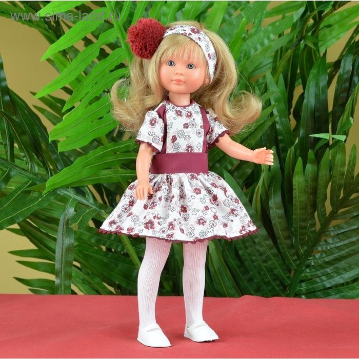 """Кукла """"Селия"""" в бело-бордовом платьице в цветочек"""