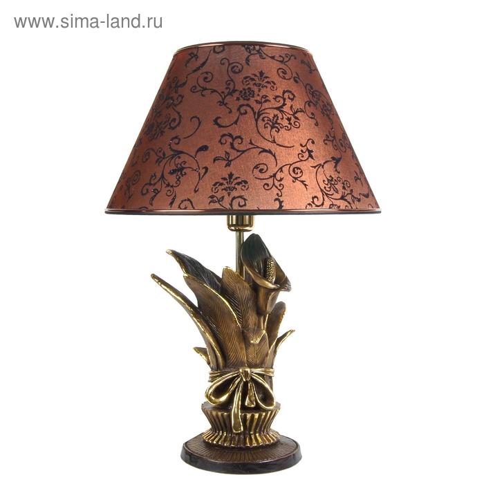 """Настольная лампа """"Каллы сборный букет"""", коричневый"""
