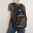 Рюкзак школьный, 3 отдела на молниях, 2 наружных кармана, цвет чёрный/серый