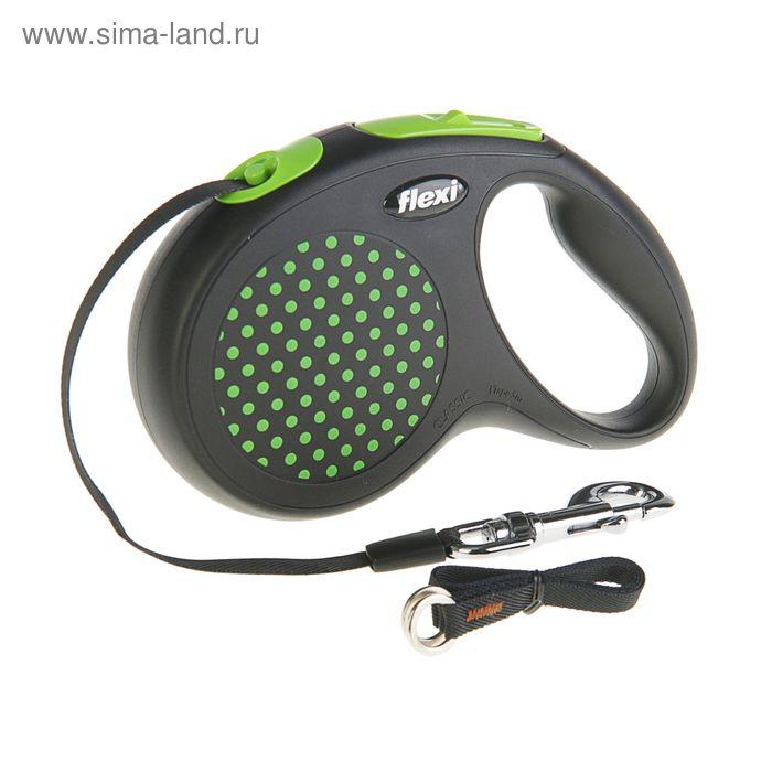 Рулетка Flexi  Design M-L (до 50 кг) 5 м лента, черная/зеленый горох