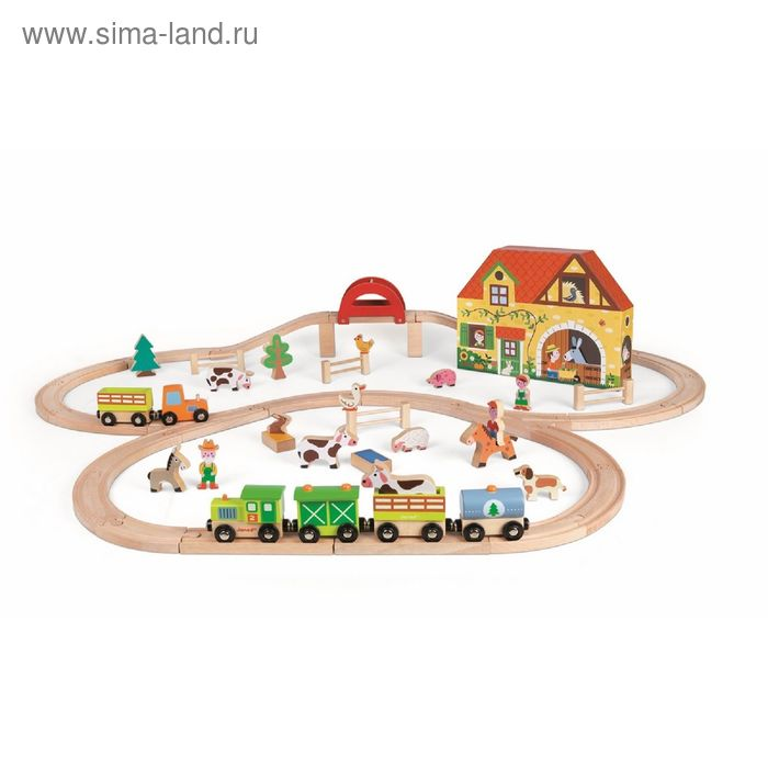 """Игровой набор """"Ферма"""": 23 игрушки, поезд, железная дорога из 25 элементов"""