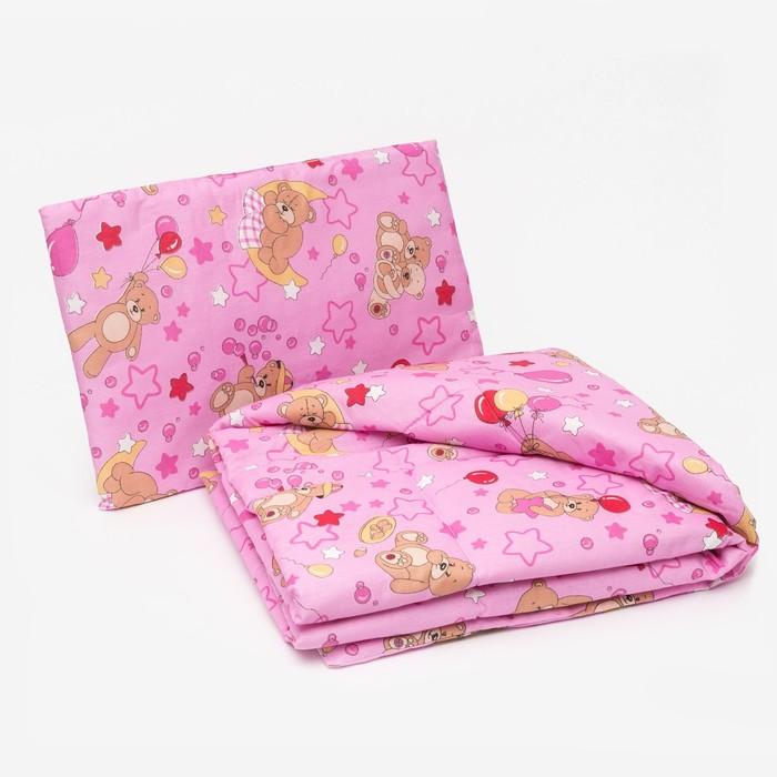 Комплект в кроватку для девочки (одеяло 110*140 см, подушка 40*60 см), цвет МИКС - фото 1654833