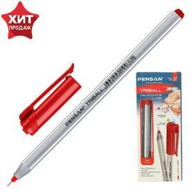 """Ручка шариковая масляная Pensan """"Triball"""", чернила красные, трехгранная, узел 1 мм, линия письма 0,5 мм"""
