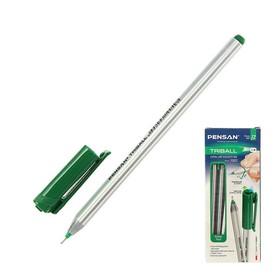 """Ручка шариковая масляная Pensan """"Triball"""", чернила зеленые, трехгранная, узел 1 мм, линия письма 0,5 мм"""
