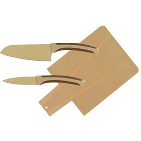 Набор, 3 предмета: восточный нож Santoku 13 см, нож для чистки 9 см, доска разделочная